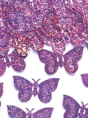 Hologrāfisks konfeti taurenīši,gaisi rozā, 15 gr