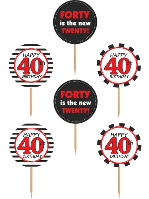 6 pcs, Cupcake toppers Forty, mix, 9.2 cm
