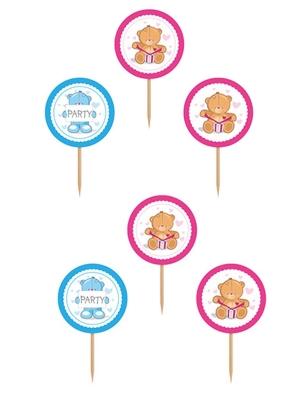 6 pcs, upcake Toppers Teddy Bear, 9.2 cm