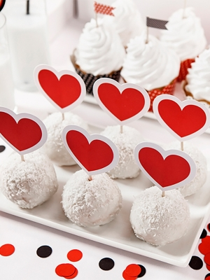 6 pcs, Cupcake Toppers Heart, 10 cm