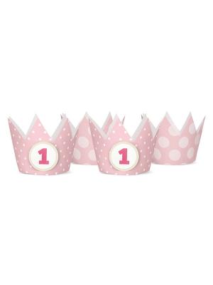 4 gab, Svētku cepures - rozā kronīši , 10 cm
