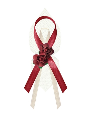Lapel ribbons with roses, deep red, 9 cm