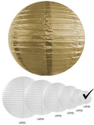 Papīra laterna, zelta krāsā, 20 cm