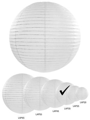 Papīra laterna, balta, 35 cm