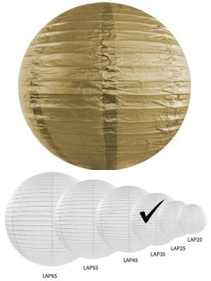 Papīra laterna, zelta krāsā, 35 cm
