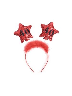 Headband with stars 40, red
