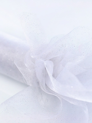 Organza ar gliteri, balta, 0.36 x 9 m
