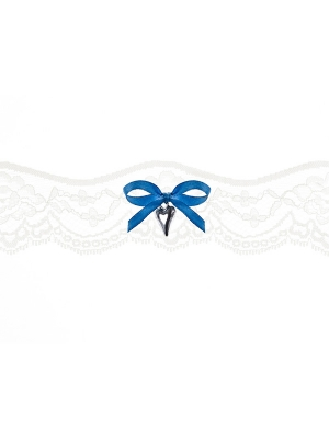 Lace garter with a ribbon, cream, 5 cm