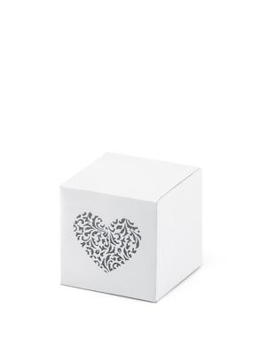 10 gab, Kastītes ar dekoratīvu sirdi, baltas, 5 x 5 x 5 cm