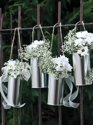 5 pcs, Decorative cans, silver, 14 x 7 cm