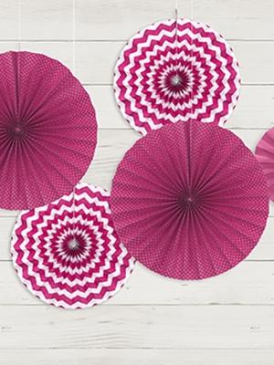 3 gab, Dekoratīvās rozetes, fuksijas krāsā, 40, 32, 23 cm