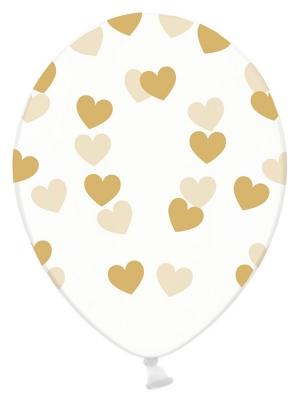 Balons Sirsniņas, caurspīdīgs ar zeltu, 30 cm