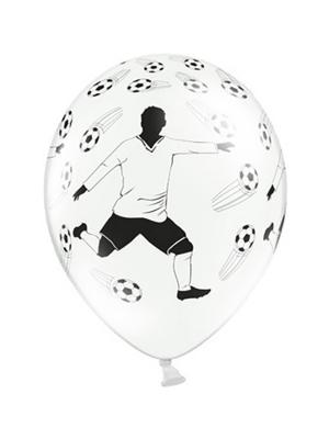 6 gab, Baloni Futbolists, balti ar melnu, 30 cm
