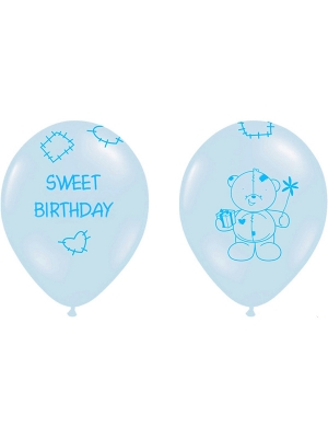 Balons Sweet Birthday, zili, 30 cm