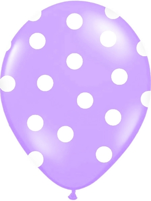 6 gab, Punktoti baloni, lavandas zils ar baltu, 30 cm