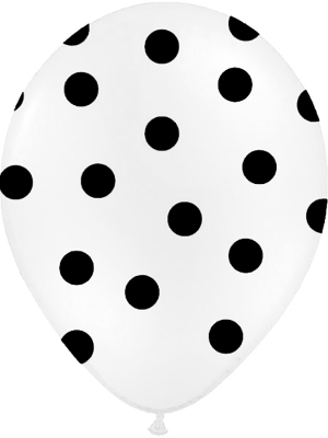 Punktots balons, balts ar melnu, 30 cm