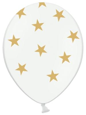 6 gab, Baloni Zvaigznes, balti ar zelta, 30 cm