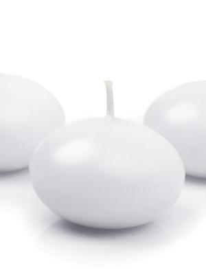 Peldoša svece, balta, matēta, 5 cm