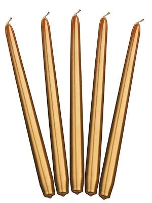 Konusa svece, glancēta, zelta, 29 cm