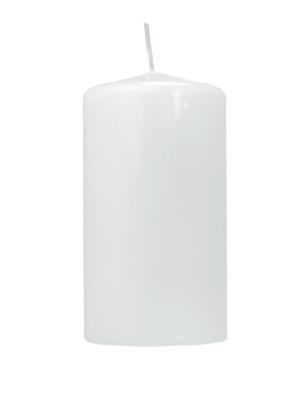 Cilindra svece, lakota, balta, 12 cm x 6 cm