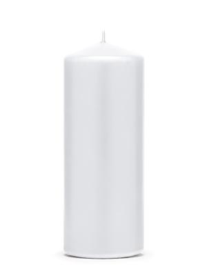 Cilindra svece, matēta, balta, 12 cm x 6 cm