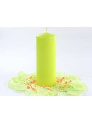 Cilindra svece, matēta, gaiši zaļa, 15 cm x 6 cm
