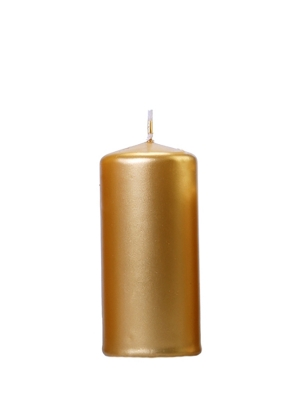 Cilindra svece, glancēta, zelta, 12 x 6 cm