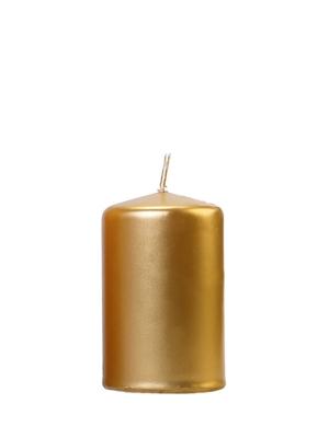 Cilindra svece, glancēta, zelta, 10 cm x 6.5 cm