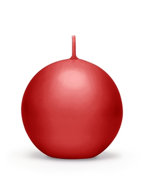 Apaļa svece, matēta, sarkana, 6 cm