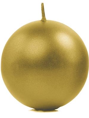 Apaļa svece, glancēta, zelta, 8 cm
