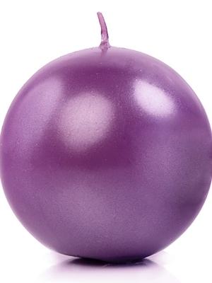 Apaļa svece, glancēta, violeta, 8 cm
