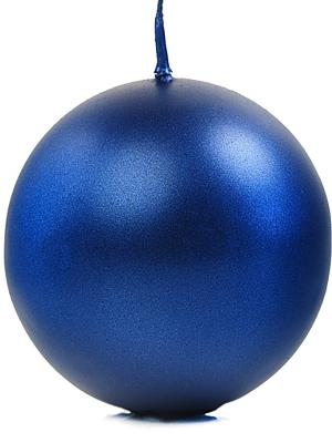Apaļa svece, glancēta, jūras zila, 8 cm