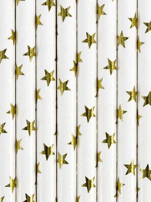 10 gab, Salmiņi balti, zelta zvaigznes, 19.5 cm