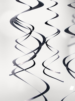 5 gab, Piekaramais dekors, melns, 60 cm
