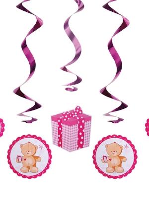 5 pcs, Swirls Teddy bears, pink, 60cm
