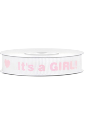Grosgrain ribbon Its a Girl!, 12mm/10m, 1piece