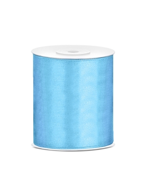 Satīna lente, gaiši zila, 100 mm x 25 m