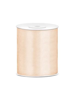 Satīna lente, krēmkrāsā, 100 mm x 25 m