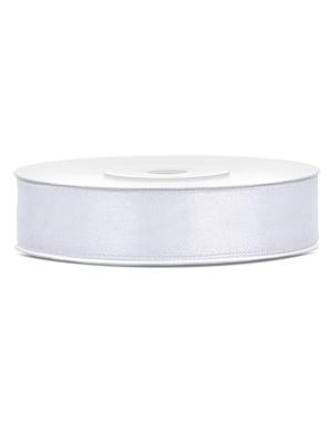 Satīna lente, balta, 12 mm x 25 m