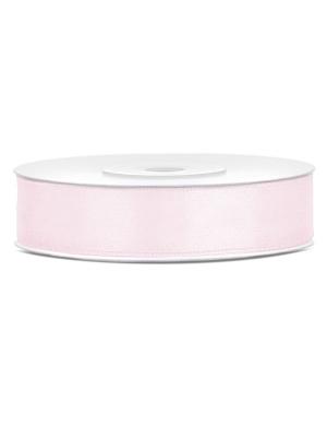 Satīna lente, gaiša pūdera rozā, 12 mm x 25 m