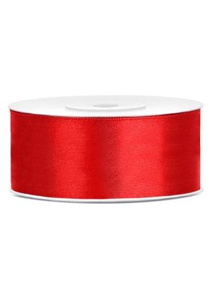 Satīna lente, sarkana, 25 mm x 25 m
