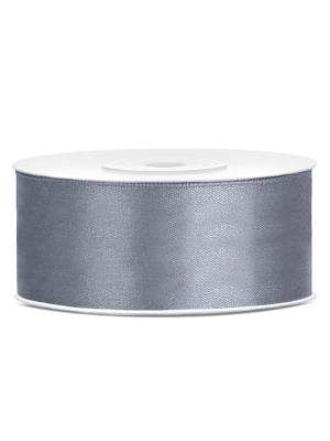 Satīna lente, pelēka, 25 mm x 25 m