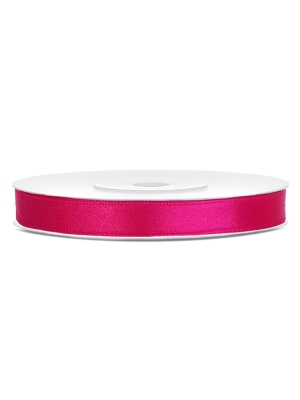 Satīna lente, tumši rozā, 6 mm x 25 m