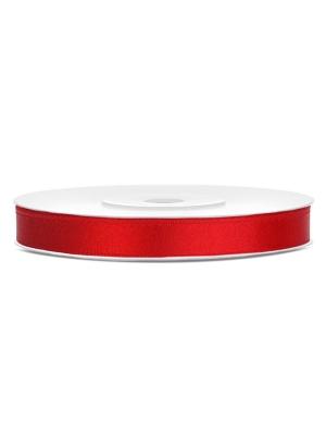 Satīna lente, sarkana, 6 mm x 25 m