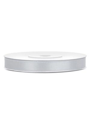 Satīna lente, sudraba, 6 mm x 25 m