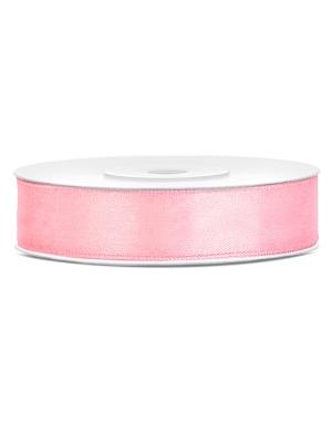 Dubultā satīna lente, gaiši rozā, 12 mm x 25 m