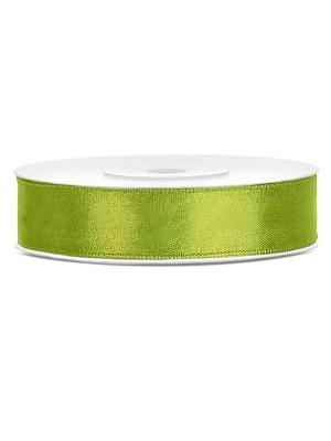 Dubultā satīna lente, gaiši zaļa, 12 mm x 25 m