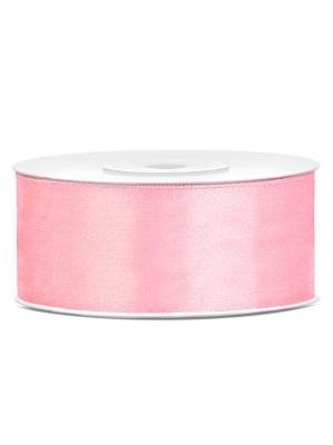 Dubultā satīna lente, gaiši rozā, 25 mm x 25 m