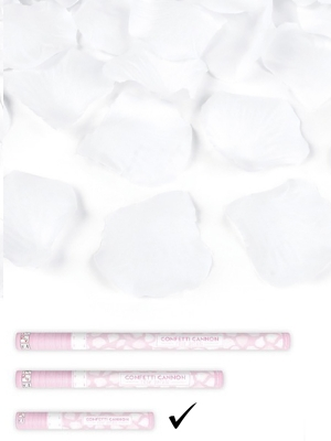 Plaukšķene ar rožlapiņām, balta, 40 cm