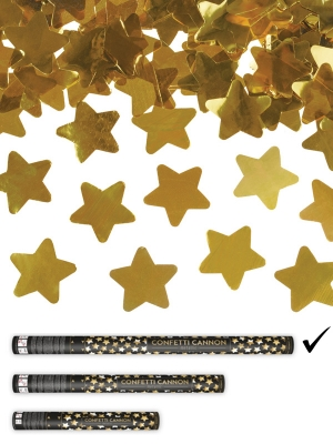 Confetti cannon with stars, gold, 80cm